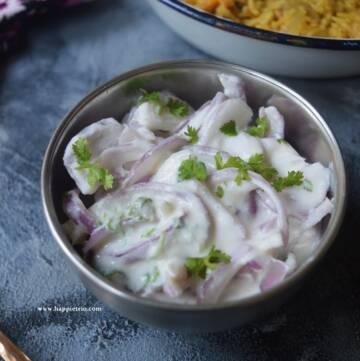 onion raita recipe, how to make onion raita   pyaaz ka raita