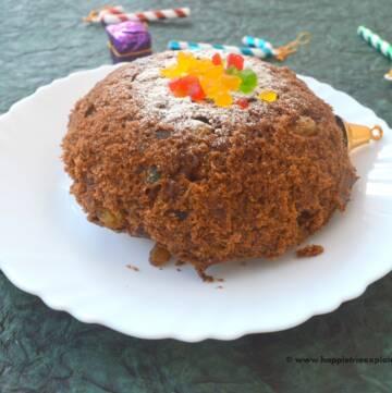 Eggless Microwave Christmas fruit cake