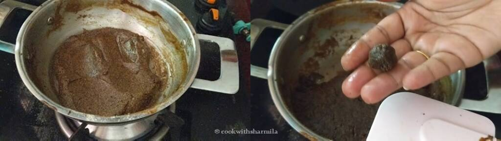Step 6 : Add sesame oil for the ulutham kali and check the consistency once its cooked.