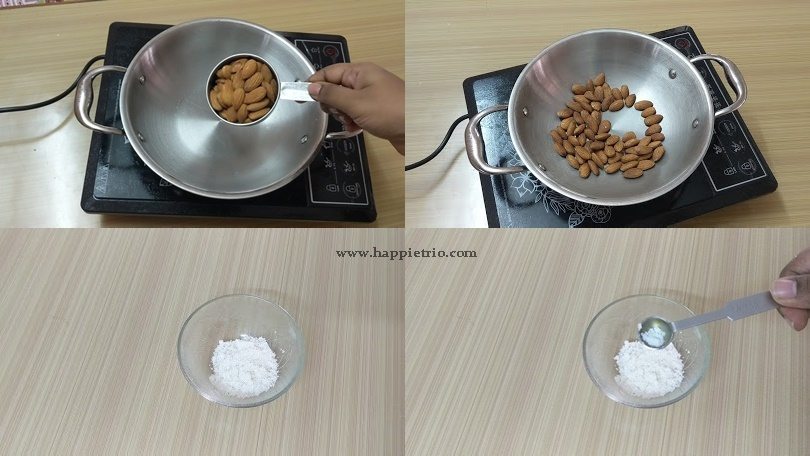 Step 1 :  Toast the Almonds and prepare the sugar mix.