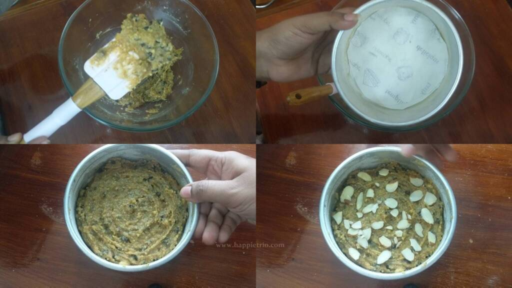 Step 4 - Transfer the cake batter to the cake pan and top with sliced Almonds.