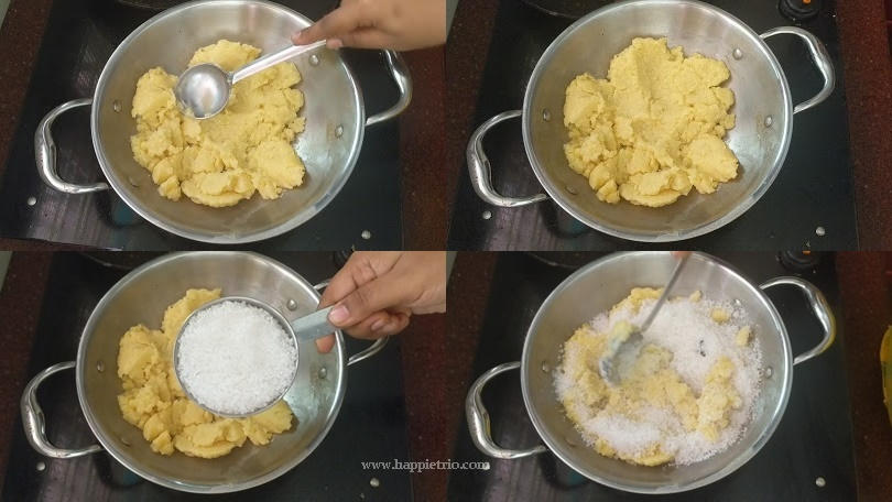 Step 3 - Mash the moong dal and add required Sugar