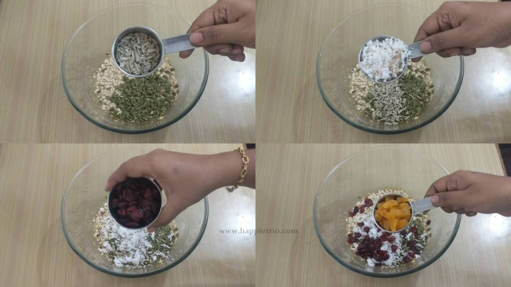 Step 4- Add all the dry fruits for the breakfast cookies.