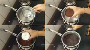Step 1 - PRepare chocolate glaze for the sponge cake