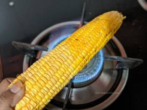 Step 1 - Grill the corn in fire