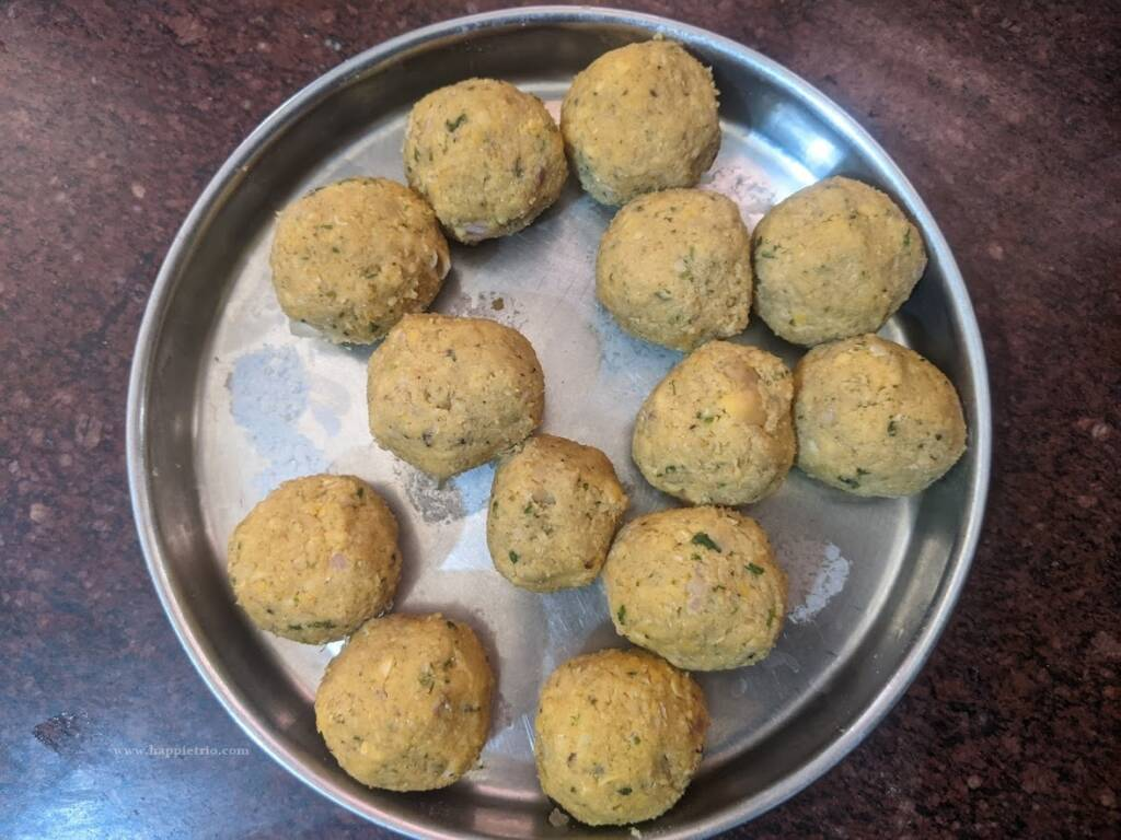 Add shaped and ready to fry falafel