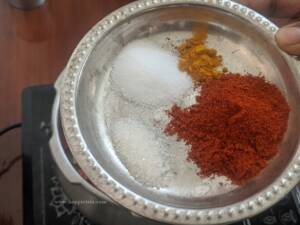 Step 4 - Add in the spice powders for the thokku