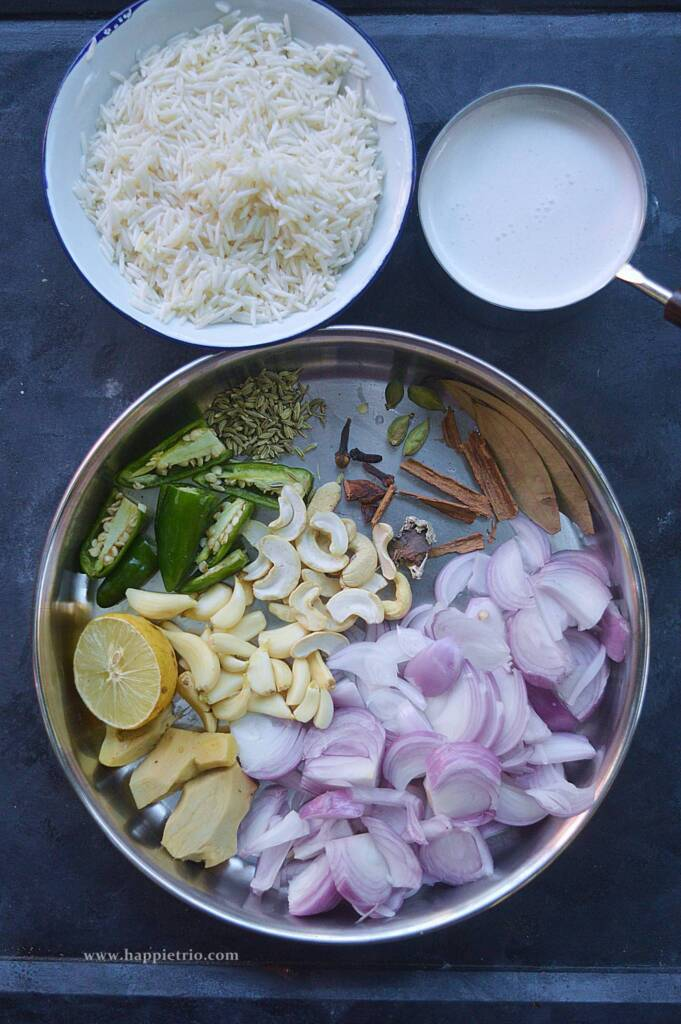 Ingredients for Coconut Milk Pulao