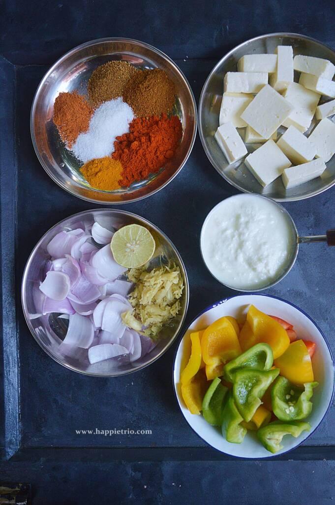 Ingredients for Paneer Tikka