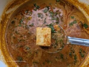 Finally garnish with cilantro. Paneer Kolhapuri masala is ready