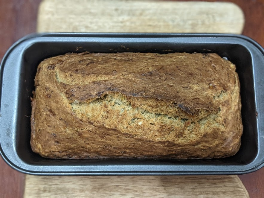 Preheat the oven 180 Deg C or 356 F for 10 mins. Bake at 180 Deg C  or 356 F for 50 to 55 mins or until a toothpick when inserted comes out clean. Vegan Banana Bread is ready