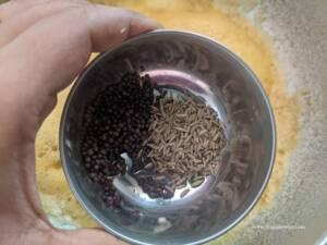 Add in mustard and Cumin seeds