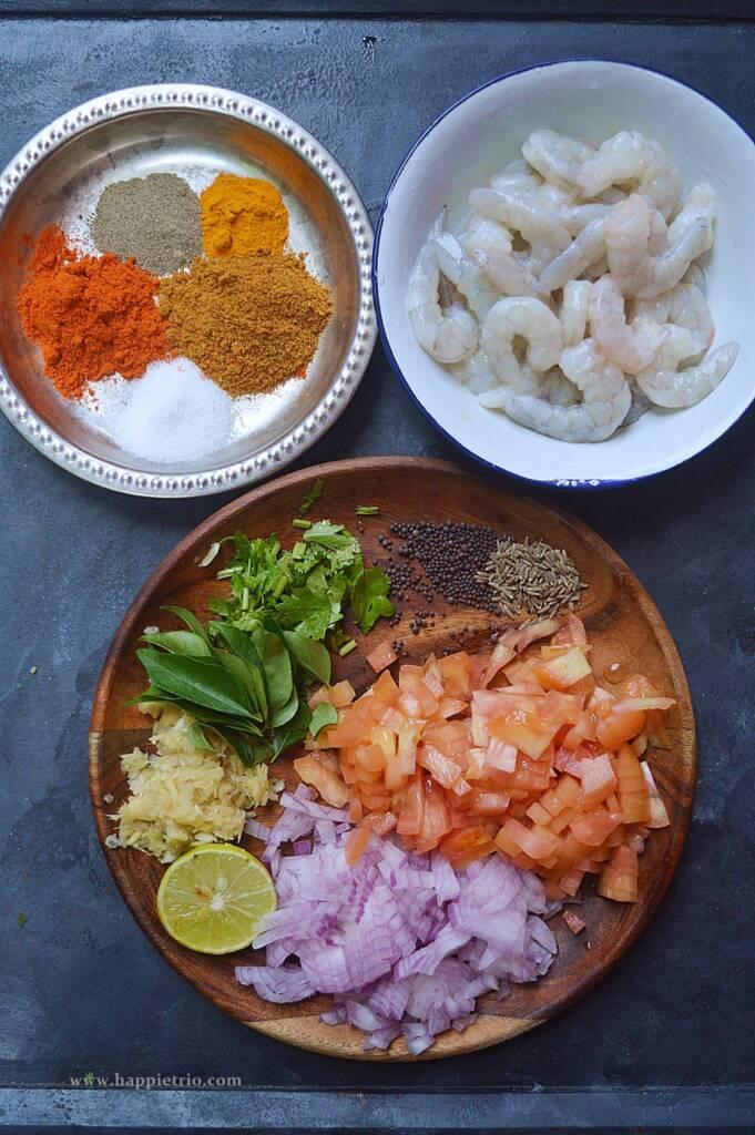 Prawn Thokku Ingredients