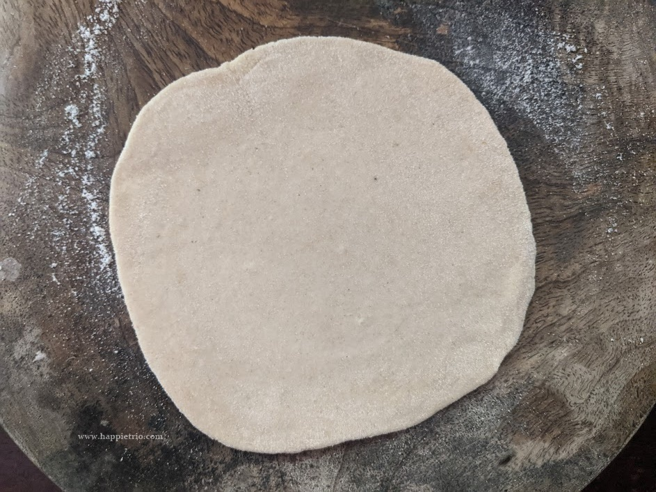 Divide the dough into equal portions and then in the working area dust in some flour and knead the tortillas into a small circle. The tortilla will be very thin.