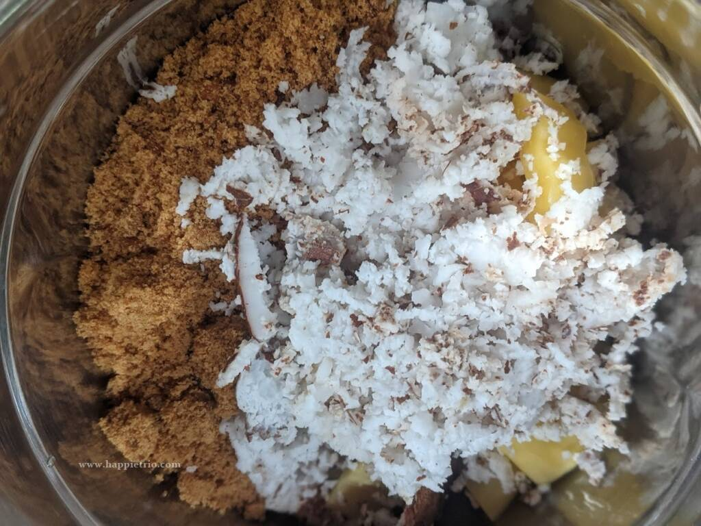 Add in the Jaggery and coconut.