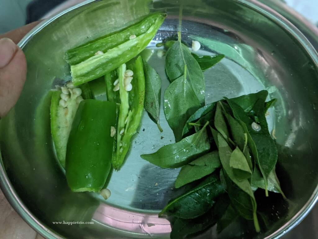 Add green chilly and curry leaves
