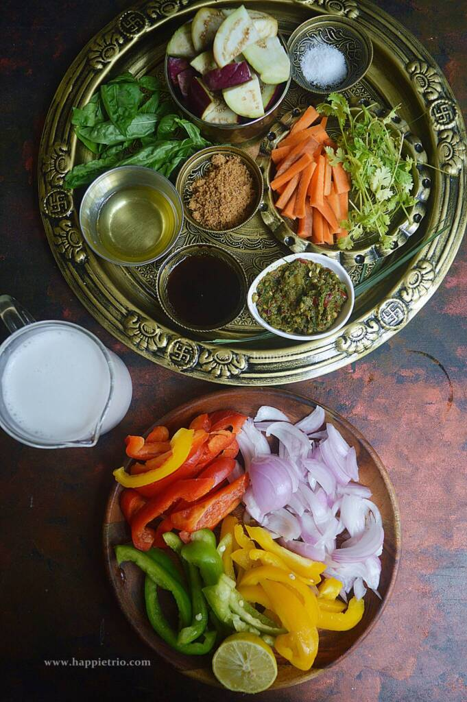 Ingredients for Thai Green Curry with Vegetables.