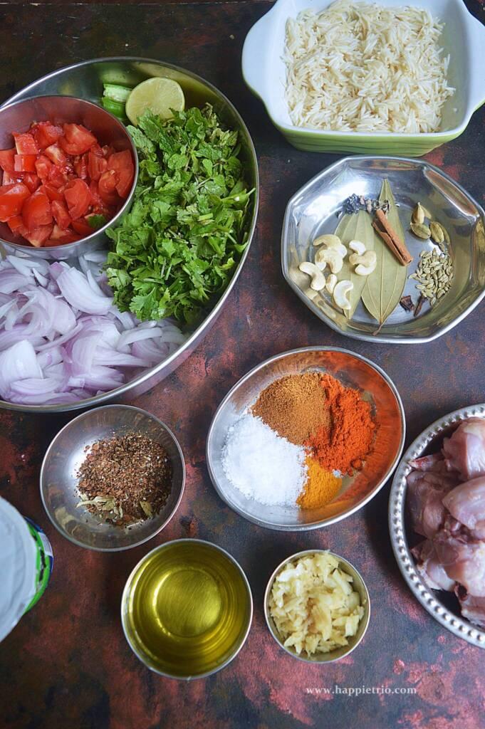 Ingredients for Instant Pot Chicken Biryani