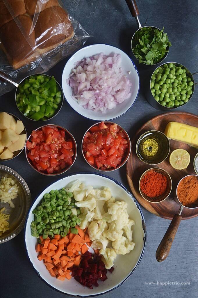 Ingredients for Pavbhaji